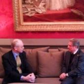 Photo 66 of 152 - Former President Amine Gemayel meets with Belgium Prime Mini