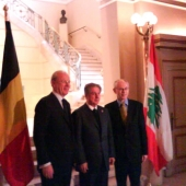 Photo 68 of 152 - Former President Amine Gemayel with Belgium Prime Minister a