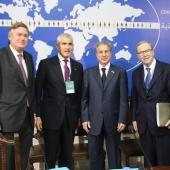 Photo 13 of 18 - Présidents Wilfried Martens Amine Gemayel Ferdinando Casini et SG Antonio Lopez 27012012