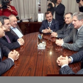 Photo 44 of 56 -  Former President A Gemayel meets a delegation of Amal Movement 16012007