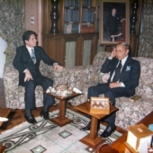 Photo 35 of 88 -  Hassan II meets President Gemayel in Rabat 15121985